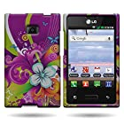 Coveron Purple Hard Snap-On Cover Case With Green Blue Floral Medley Design For Lg L35g Optimus Logic / L38c Dynamic Net10 / Straight Talk With Pry- Triangle Case Removal Tool [Wcm90]