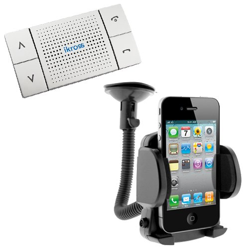 iKross Bluetooth Speakerphone Handsfree Visor Car Kit + Universal Car Mount Holder for Apple iPhone, HTC First, One