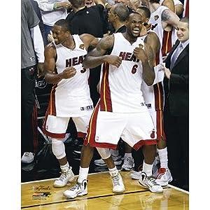 (20x24) LeBron James & Dwyane Wade Miami Heat Celebration Photo by Poster Revolution