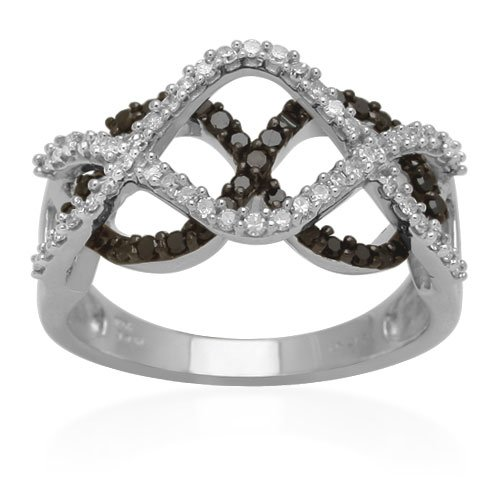 10K White Gold Black and White Diamond Criss Cross Infinity Ring (1/2 cttw, I-J Color, I3 Clarity), Size 6
