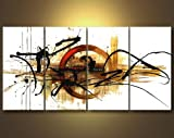Wieco Art - the Fifth Planet Modern 100% hand painted Canvas Wall Art for Wall Decor Home Decorations Stretched and Framed Art work, Abstract Oil Paintings on canvas Wall Art ready to Hang for Wall Decorations Home Decor 16x32inchx4pcs