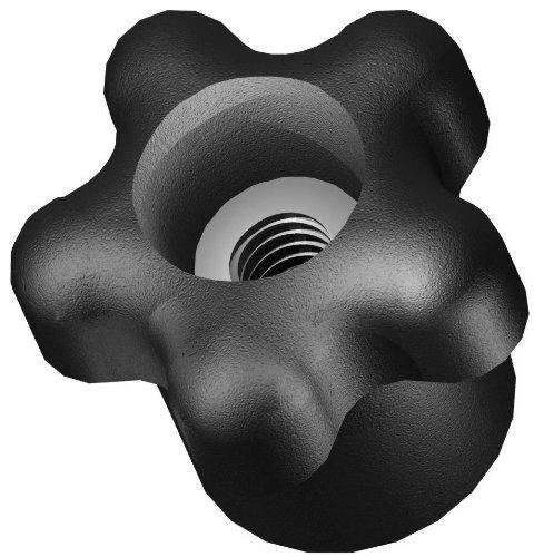 "Innovative Components AN4C-5S221 1.38"" Star knob thru hole 1/4-20 steel zinc insert black pp (Pack of 10)"