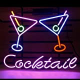 HOZER Professional Cocktail Martini Design Decorate Neon Light Sign Store Display Beer Bar Sign Real Neon Signboard for Restaurant Convenience Store Bar Billiards Shops