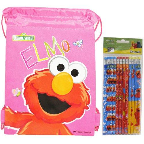Elmo Pencils 12 and 1 Drawstring Bag - 1