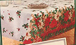 Christmas Linen Tablecloth - Tablecloth Oblong Regal Poinsettia Christmas (Oblong 60 x 84)