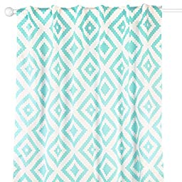 Teal Blue Diamond Tile Print Window Drapery Panels - Set of Two 84 by 42 Inch Panels
