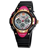 Pasnew High Water-Proof Quality 100m Dual Time Unisex Enfant Outdoor Sport Black Watch