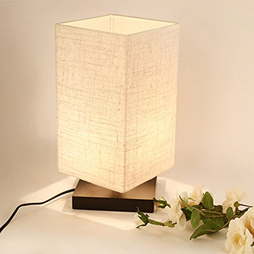 ZEEFO Simple Table Lamp Bedside Desk Lamp With Fabric Shade and Solid Wood  for Bedroom, - Best Desk Lamp For College Lamps Guide