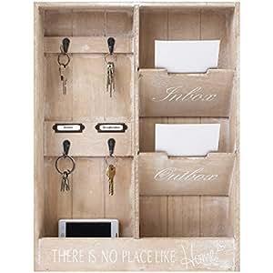 edler wandorganizer memoboard mit schl sselbrett und 2 holztaschen 48x36x7cm holz. Black Bedroom Furniture Sets. Home Design Ideas