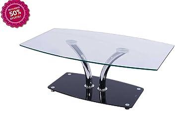 Mesa de centro moderna de cristal,alta cálida.