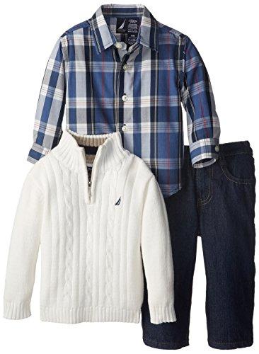 Nautica Baby-Boys Infant 3 Piece Woven Sweater Denim Set, Cream, 18 Months front-1015605