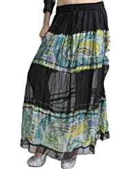 Exotic India Black Skirt With Embroidered Sequins And Printed Paisleys - Black