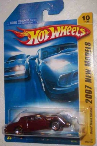 2007 New Models -#10 Buick Grand National Burgundy 5 Spoke Wheels #2007-10 Mattel Hot Wheels 1:64 Scale Collectible Die Cast Car
