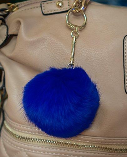 royal-blue-3-for-2-8cm-gold-metal-clasp-keychain-keyring-pompom-ball-real-fur-8cm-monster-soft-fluff