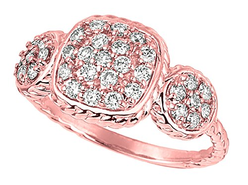 0.62 carat Round diamond square and round shape ring pink gold 14K new size C