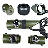1Pc Famous Popular Keychain 7in1 LED Flashlight Portable Storage Camping Torch Thermometer Color Olive Green