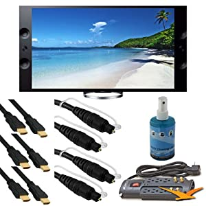 Sony XBR-65X900A 65-Inch 4K Ultra HD 120Hz 3D LED UHDTV (Black) BUNDLE with High Speed HDMI Cables (Qty 3), Optical Cables (Qty 3), Surge Protector, TV Screen Cleaner