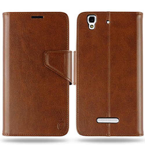Cool Mango Business Flip Cover for Yu Yureka Plus - 100% Premium Faux Leather Flip Case for Micromax Yu Yureka / Yureka Plus with 360 Degree Stitching, Magnetic Lock, Card & Currency Wallet - Limited Time Offer Pricing (Cocoa Brown)