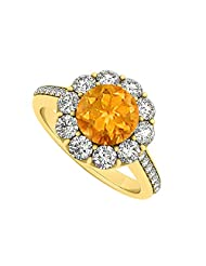 18K Yellow Gold Vermeil November Birthstone Citrine And Cubic Zirconia Halo Engagement Ring