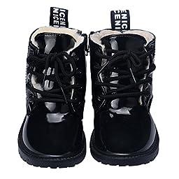 Infant Baby Shoes Mosunx(TM) Leather Ankle Boots Toddler Prewalker (22, Black)