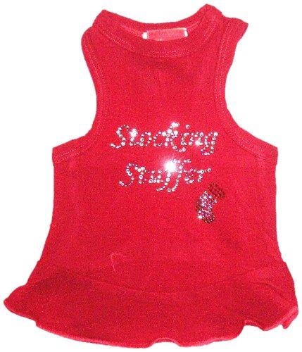 The Dog Squad Stocking Stuffer Dress Christmas T-Shirt For Pets, Medium, Red