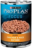 Purina Pro Plan Wet Dog Food, Focus, Puppy Chicken & Rice Entree Classic, 13-Ounce Can, Pack of 12
