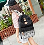 Hitop Geometry Dot Casual Canvas Backpack Bag, Fashion Cute Lightweight Backpacks for Teen Young Girls (Black)