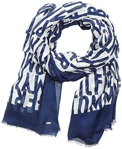Tommy Hilfiger LOGO LETTER SCARF-Scialle Donna    Multicolore (Medieval Blue) unica