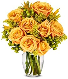 From You Flowers - Oak and Fall Roses - Deluxe (Free Vase Included)