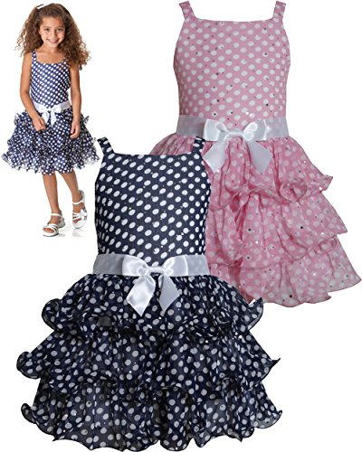 Navy-Blue White Sparkle Dot Curvy Wire Chiffon Tier Dress Nv3Na, Navy, Bonnie Jean Little Girls 2T-6X