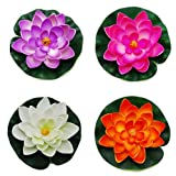 CNZ Medium Floating Pond Decor Water Lily / Lotus Foam Flower, Set of 4