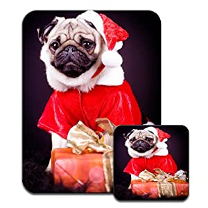 Pug Dog Dressed as Santa with Christmas Gifts Premium Mousematt & Coaster Set