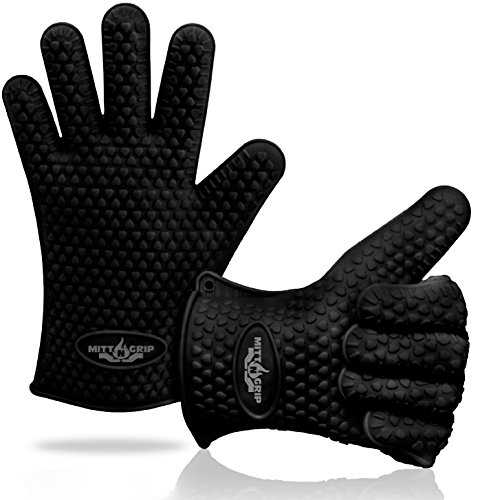 Extra Thick Silicone Oven Gloves. Extreme Heat Resistance for BBQ Grilling, Baking, Smoking, Cooking, Crock Pot & Toaster Oven. Set of 2 Mitt-N-Grip Barbecue Gloves. One Size Fits Most - Sleek Black (Kitchenaid Toaster Oven Pan compare prices)