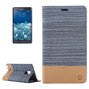 Crazy4Gadget Horizontal Flip Canvas Leather Case with Card Slot & Holder for Samsung Galaxy Note Edge / N915 (Blue)