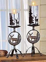 Rustic Northwoods Metal Candle Holders - Set Of 2