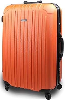 【SUCCESS サクセス】スーツケース ブラックフレーム  【軽量TSAロック バベル2015 ~ 大型・J型・中型】 キャリーケース バッグ トランク キャリーバッグ (ジャスト型72㎝, オレンジ)