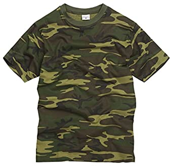 100% Cotton Military Style T-shirt - Woodland Camouflage (XS)