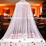 Mosquito Net for Bed (WHITE). With FREE Mosquito Repellant Bands or Stickers. Jumbo Mosquito Canopy netting fabric fits cribs, twin, full and queen sized beds. Mosquito repellant cover eliminator barrier drape for mosquitos protection & control of pesky Mosquitoes. (1) Mosquito repeller indoor net / malaria net.