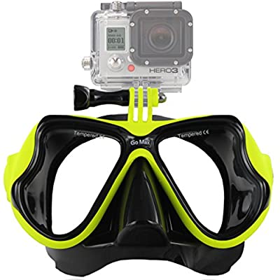 GoMax GoPro Scuba Diving Mask compatible w/ GoPro Hero 1, 2, 3, 3+ and 4, Black, Silver and White editions