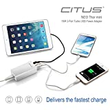 CITUS® NEO Thor Mini 15W 3-Port Turbo USB Power Adapter Charger for iPhone 5s 5c 5; iPad Air mini; Galaxy S5 S4; Note 3 2; the new HTC One (M8); Nexus and More (White) (3-Port)