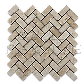 Ivory Travertine Tumbled Herringbone Mosaic Tile