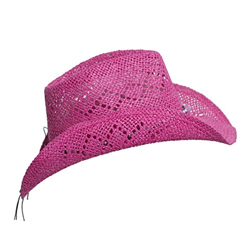 pink straw cowboy hat for with beaded trim and