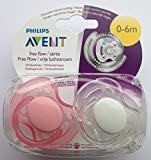 Philips Avent Free Flow Soother Twin Pack 0-6m (Pink / Clear)