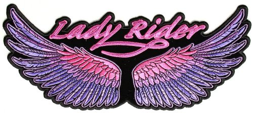 Lady Rider Wings Purple Large Patch, 10x4.5 inch, large embroidered biker patch, iron on or sew