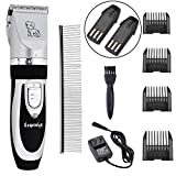 Legendog Dog Clippers Low Noise Cordless Rechargeable Pet Electric Clippers Grooming Kit for Dogs and Cats, 2 Batteries and Steel Comb