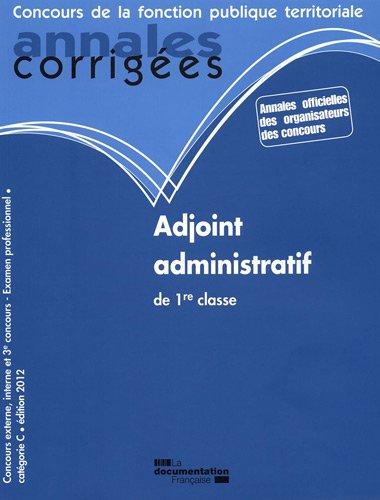 Adjoint administratif de 1re classe 2012