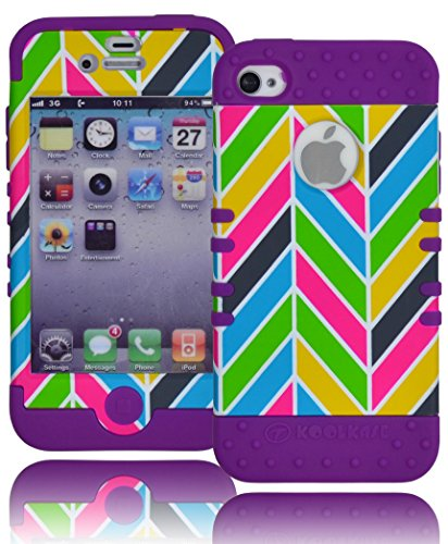 Bastex Hybrid Rocker Case For Apple Iphone 4, 4S - Purple Silicone With Pink, Gray, Blue, & Orange Neon Colors - Chevron Style Hard Shell front-424672