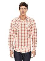 True Religion Camisa Cuadros Bolsillos Pecho (Naranja / Beige)