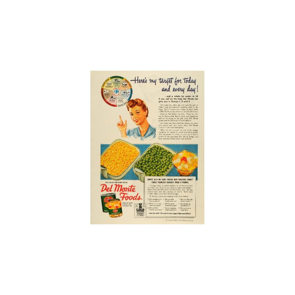 1944 Ad Del Monte Foods Canned Products Nutrition Chart   Original Print Ad