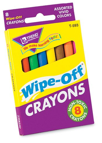 16 Pack TREND ENTERPRISES INC. WIPE-OFF CRAYONS REGULAR 8/PK